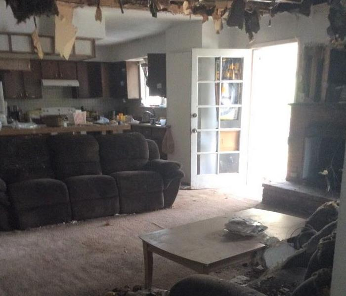 Fire damaged living room